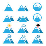 Mountain winter  icons set Stock Photography
