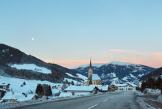 Mountain winter Kartitsch village and sunrise (Austria). Stock Photography
