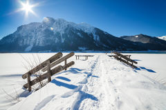 Mountain winter landscape with wooden stairs covered with snow Stock Photos