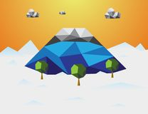 Mountain in winter Low poly background. Mountain and cloud and t Stock Photo