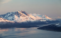 Mountain at winter in Norway, Tromso Royalty Free Stock Images