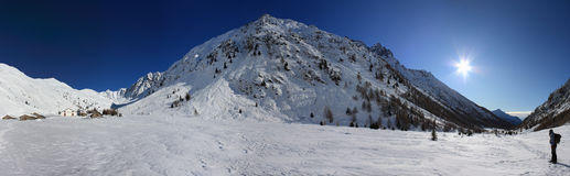 Mountain winter panorama. On italian Alps. Snow an sun Stock Image