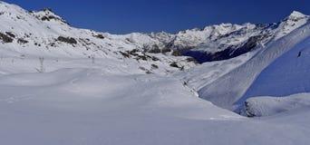 Mountain winter panorama around Gavarnie Gedre ski resort Stock Image