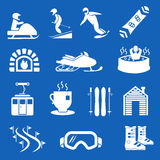 Mountain winter resort and sport hotel icons. Ski snowboard holiday signs Royalty Free Stock Photo