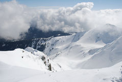 Mountain Winter Slope In Clouds. Stock Image