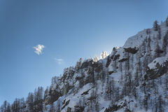 Mountain in winter at sunset Royalty Free Stock Photo
