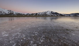 Mountain winter sunset in Umbria stock photo