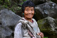 Mountain Woman. Portrait of an old tribal woman in Arunachal Pradesh -India Royalty Free Stock Photography