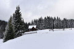 Mountain wooden chalet covered with fresh snow Royalty Free Stock Photos