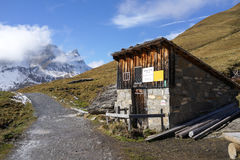 A Mountain Wooden Hut in Bachsee, Switzerland in autumn Royalty Free Stock Photos