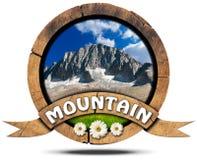 Mountain - Wooden Symbol with Peak Stock Photo