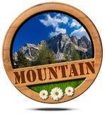 Mountain - Wooden Symbol with Peak Royalty Free Stock Image