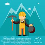 Mountain worker with pick and sack of gold. Mountain worker  miner or prospector emerging from a mine shaft or tunnel with a pick and sack of gold wearing a Royalty Free Stock Image
