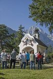 Mountain worship service Lautersee. At the Maria Queen Chapel near the Lautersee near Mittenwald there is a regular outdoor mountain fair royalty free stock images