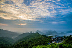 Mountain yao, China. Sunrise on mountain yao, Guilin, China Royalty Free Stock Images