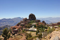 Al-Hutaib, Mosque and tomb. Mountain Yemen, Eastern Haraz, Al-Hutaib. An important shrine for the followers of the Ismaeli sect Royalty Free Stock Photo