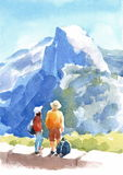 Mountain Yosemite National Park Landscape with People Watercolor Nature Illustration Hand Painted Stock Image