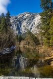 Mountain in Yosemite Park. Mountain peak towering over the trees bellow at Yosemite National Park in California, USA Stock Images