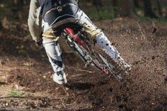 Mountainbike下坡森林行动 免版税库存图片