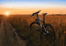 Mountainbike auf dem Gebiet bei Sonnenuntergang Stockfotografie