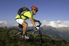 Mountainbike borroso en declive Imágenes de archivo libres de regalías