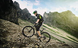 Mountainbike climb Royalty Free Stock Photos