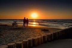 Mountainbike im Sonnenuntergang Lizenzfreies Stockbild