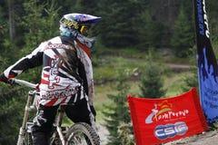 Mountainbike Pamporovo, Bulgarien, världscupkonkurrens Arkivfoton