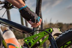 Mountainbike Saddle adjustment Royalty Free Stock Images
