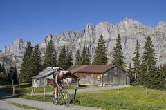 Mountainbiken dans le canton Uri Photographie stock