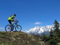 Mountainbiker骑马通过阿尔卑斯 免版税库存照片