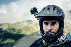Mountainbiker With Actioncam On Helmet Royalty Free Stock Photo
