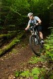 Mountainbiker che guida attraverso una curva Immagini Stock Libere da Diritti