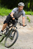 Mountainbiker driving through a curve Royalty Free Stock Photography