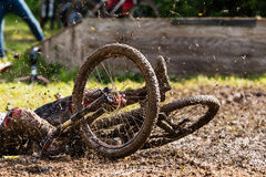 Mountainbiker is falling Stock Images