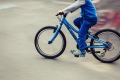 mountainbiker at halfpipe Stock Image