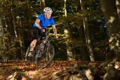 Mountainbiker i ett sluttande fotografering för bildbyråer