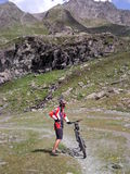 Mountainbiker in Ischgl. Me in Ischgl during holiday Royalty Free Stock Images