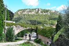 Mountainbiker in Malorca Stockbilder
