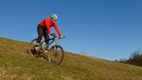 Mountainbiker on a meadow. A mountainbiker cycling on a meadow Stock Photo