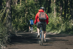 Mountainbiker rides in forest Stock Photos