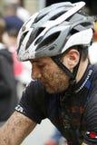 Mountainbiker sucio Foto de archivo libre de regalías