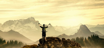 Mountainbiker on Top Stock Images