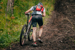 Mountainbiker in a uphill race Stock Images