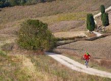 Mountainbikerreiten durch toskanische Landschaft stockbilder