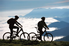 mountainbikers δύο στοκ εικόνες