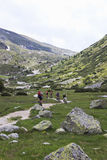 Mountainbikers en el valle de Tyroler Ziller, Austria Fotografía de archivo