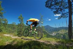 Mountainbikers jump Stock Photo