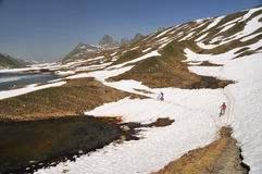 Mountainbikers on snow. Mountainbikers crossing a snowy section on an alpine trail Royalty Free Stock Photos