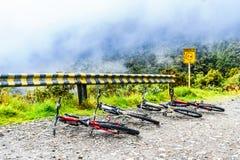 Mountainbikes op de doodsweg in Yungas van Bolivië Royalty-vrije Stock Foto